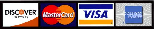 We take Visa, Mastercard, Amex and Discover