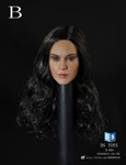 Female Headsculpt with Long Curly Hair - Dark Version - 1/6 Scale