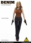 Denim Fashion Clothing Set in Black - Flirty Girl 1/6 Scale