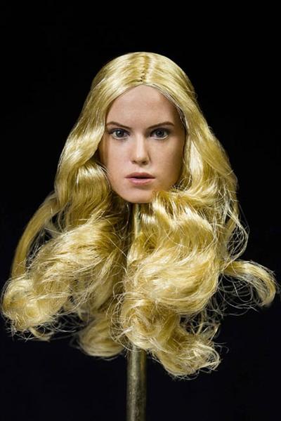 European Head Sculpt Female - Curly Brown Long Hair