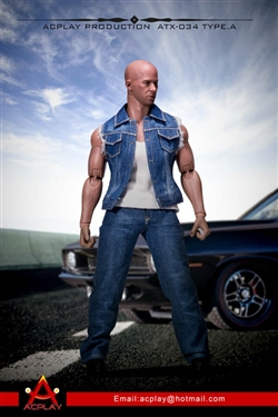 Dominic Denim Vest Set in Light Denim - Version A - AC Play 1/6 Scale Accessory