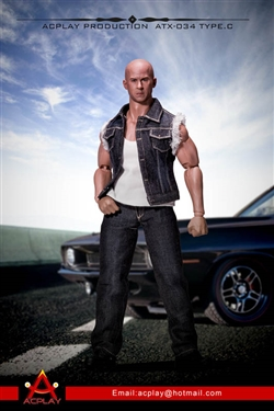 Dominic Denim Vest Set in Black - Version C - AC Play 1/6 Scale Accessory