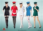 Flight Attendant Dress Set - Five Color Options - AC Play 1/6 Scale Accessory