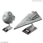 "Death Star II 1/2,700,000 and Star Destroyer 1/14,500 ""Star Wars"", Bandai Star Wars Plastic Model Kit"