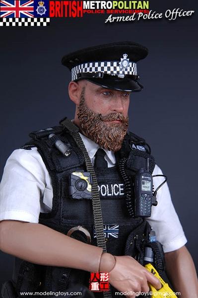 1//6 Scale British Metropolitan Police Service Armed Officer Black Tactical Vest