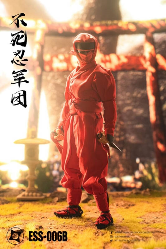 Undead Ninja Army Clothes and Weapons Set - Red Version - EdStar 1/6 Scale Figure