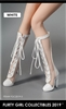 Female Fashion Boots & Shoes in White - Flirty Girl 1/6 scale accessory