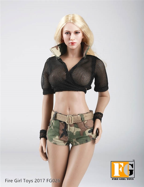 military style summer set black version fire girl 1 6 scale