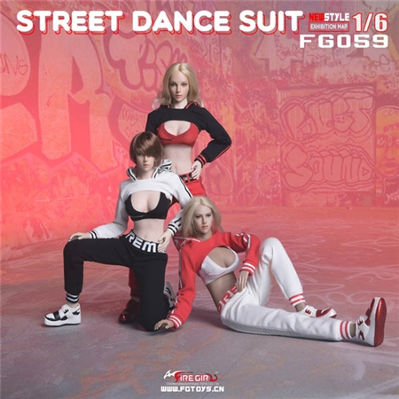 Street Dance Outfits - Three Color Options  - Fire Girl 1/6 Scale Accessory Set