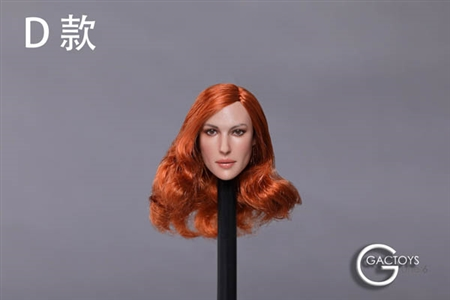 Caucasian Female Head - Mid-Length Curled Red Hair - GAC Toys 1/6 Scale