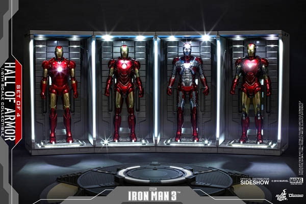 """Acrylic Display Case Light Box for THREE 12/"""" 1//6 Scale Hot Toys Iron Man Figure"""