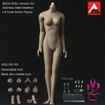 Female Body 3.0 - Metal Core, Detachable Feet - Black Skin - Jiaou Doll 1/6 Scale Figure