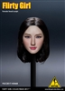 Female Head Sculpt - Short Black Hair - Flirty Girl 1/6 Scale