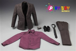 """Details about  /1//6 Scale Red Shirt Brown Suit Set For 12/"""" Action Figure Toys"""