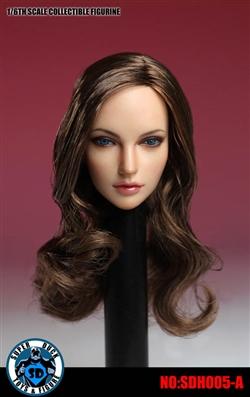 Female Head Sculpt - Brown Wavy Brown Hair - Flirty Girl 1