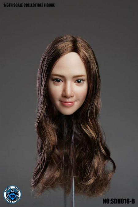 SUPERDUCK 1//6 Asian Female Head Sculpt Brown Hair for Pale TBLeague Phicen Body
