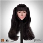 Female Head Sculpt - Long Dark Hair Ponytails - Superduck 1/6 Scale Accessory