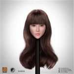 Female Head Sculpt - Long Brunette Bangs - Superduck 1/6 Scale Accessory