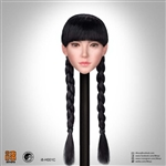 Female Head Sculpt - Long Black Braids - Superduck 1/6 Scale Accessory